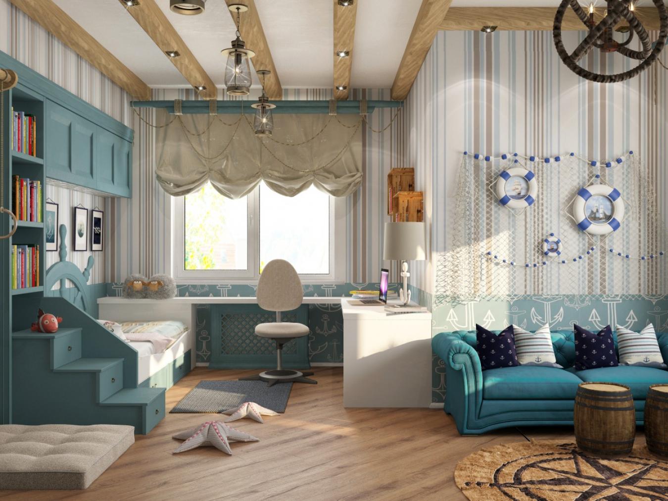 Бирюзовая комната для мальчика в морском стиле