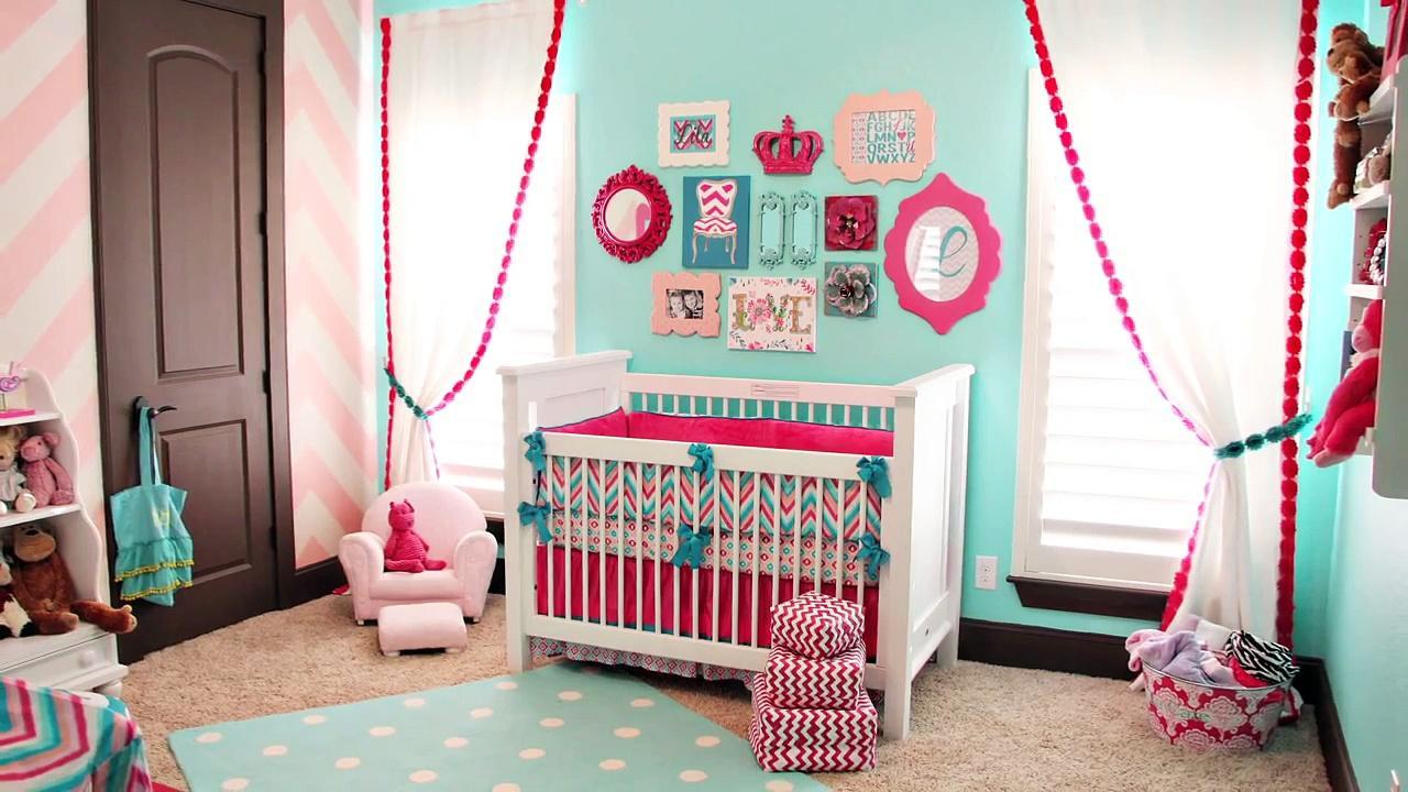 Бирюзово розовая детская для новорождённых