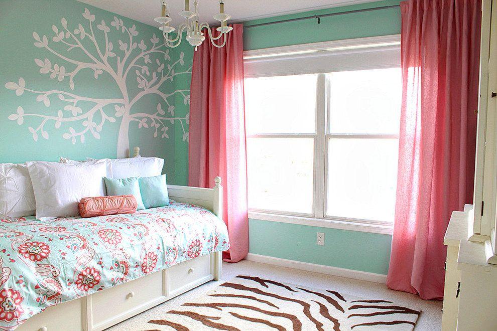 Бирюзово розовая детская комната