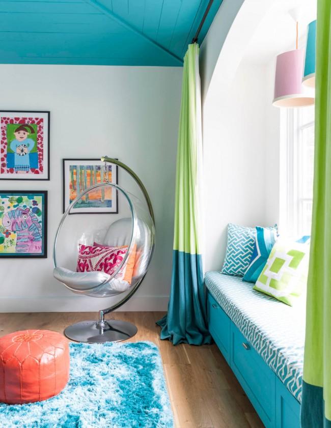Бирюзовая детская комната в интерьере