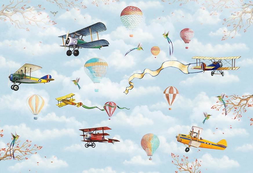 Бумажные детские обои - рисунок самолётик
