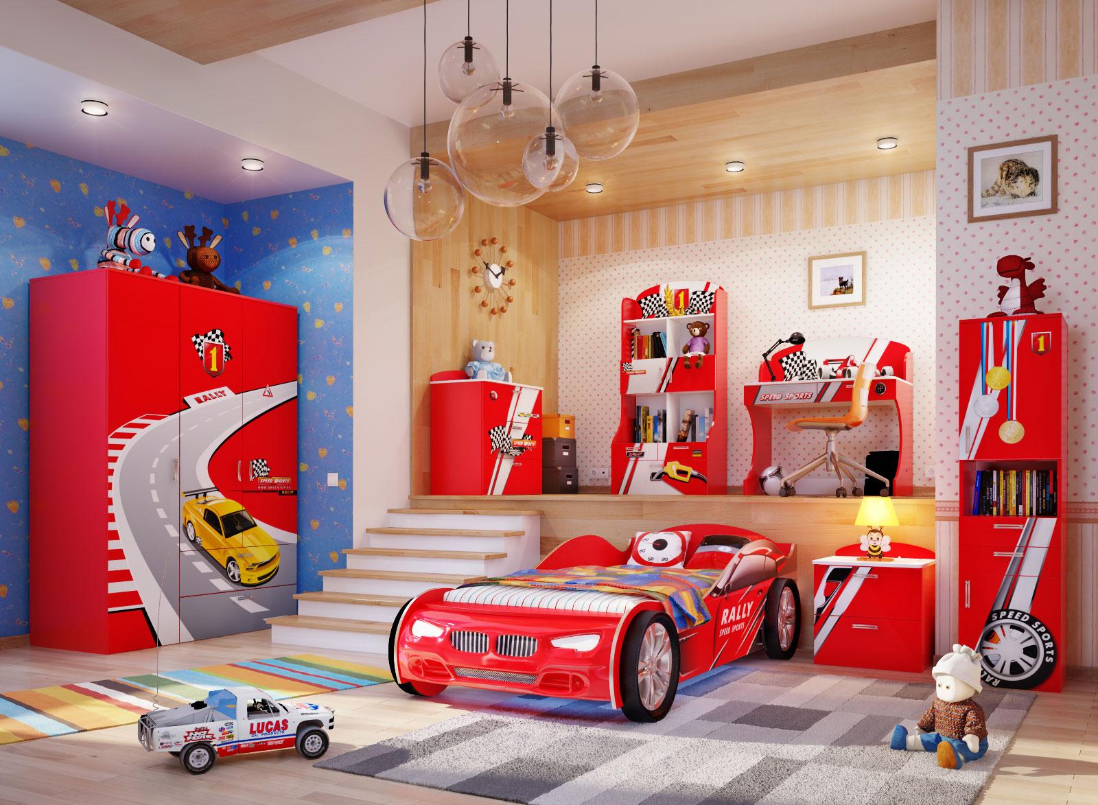 Детская кровать машина в интерьере