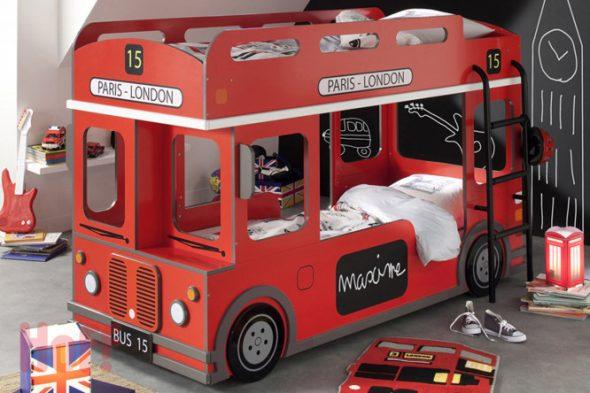 двухярусная кровать машинка автобус