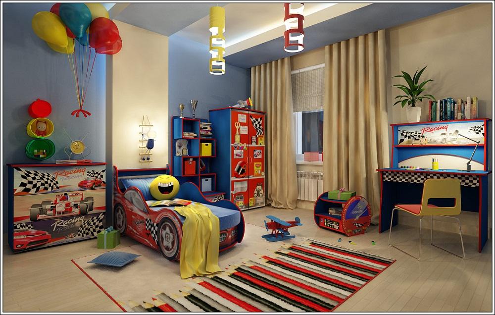 Кровать машинка в интерьере детской комнаты
