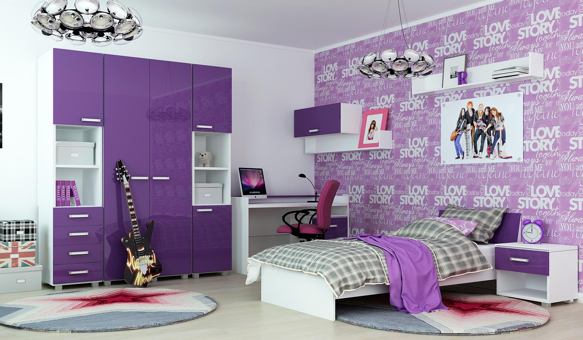 Комната в сиреневом цвете для девочки подростка