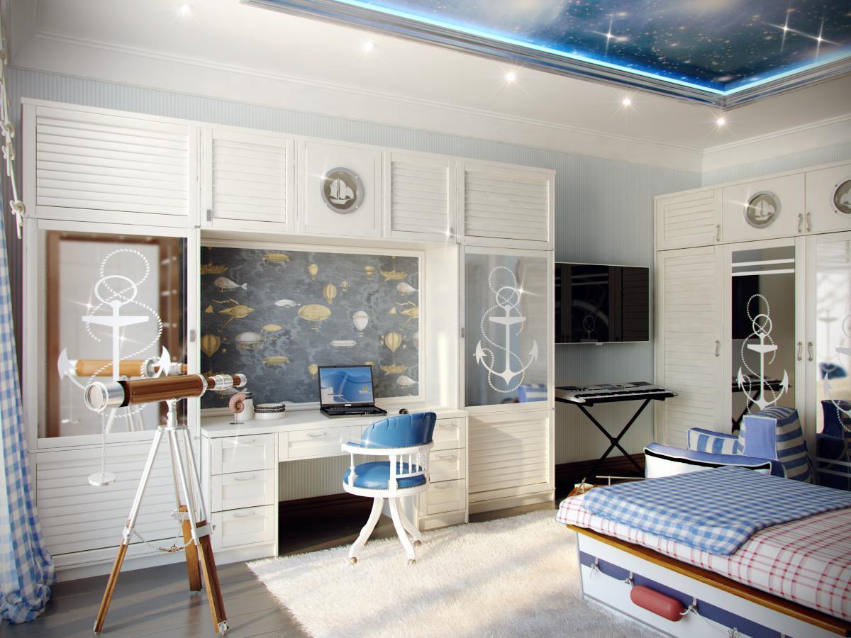 детская голубая комната в морском стиле