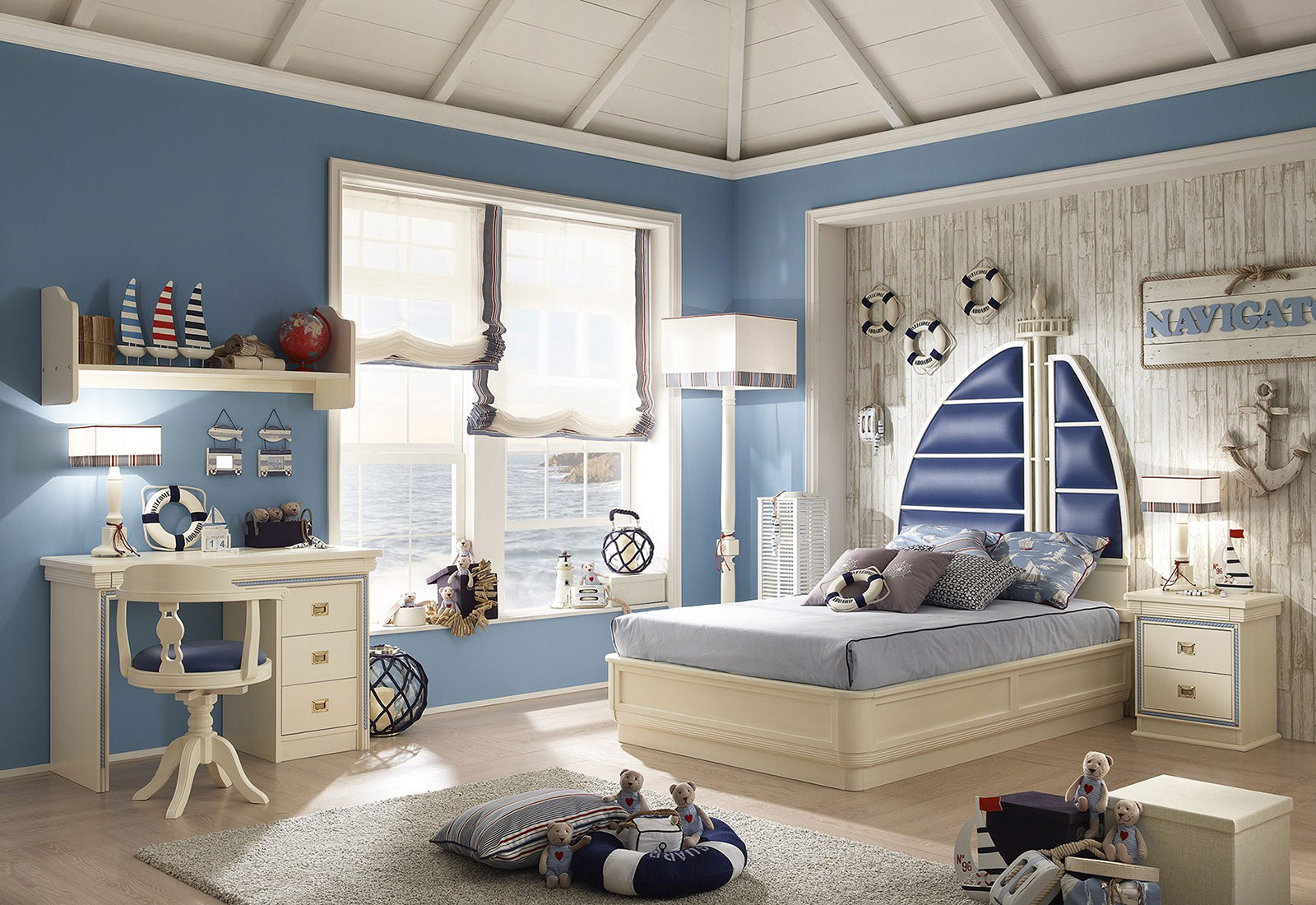 детская комната оформленная в голубых тонах