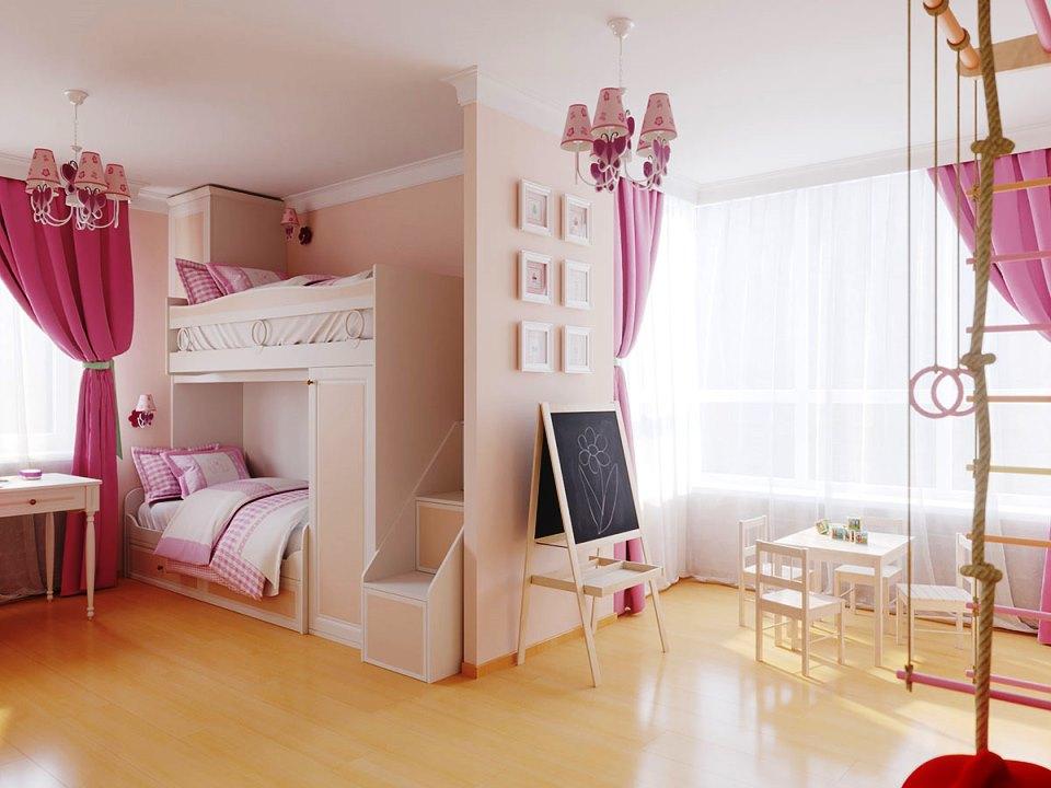 Оформление детской комнаты для девочки в розовом цвете