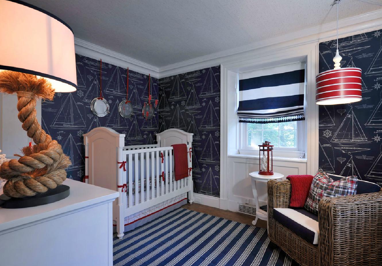 оформление стен комнаты в морском стиле