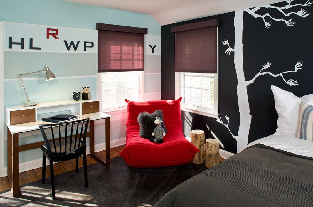 оформление стен комнаты детской в чёрном цвете