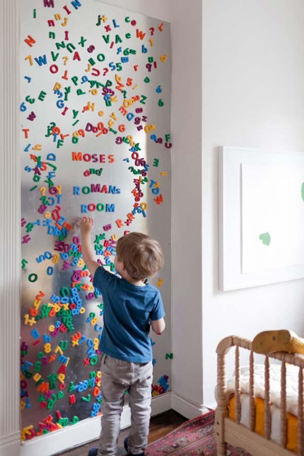 Оформление стены в детской буквами