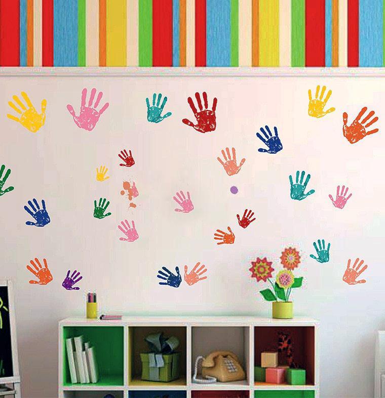 раскраска стен ладонями