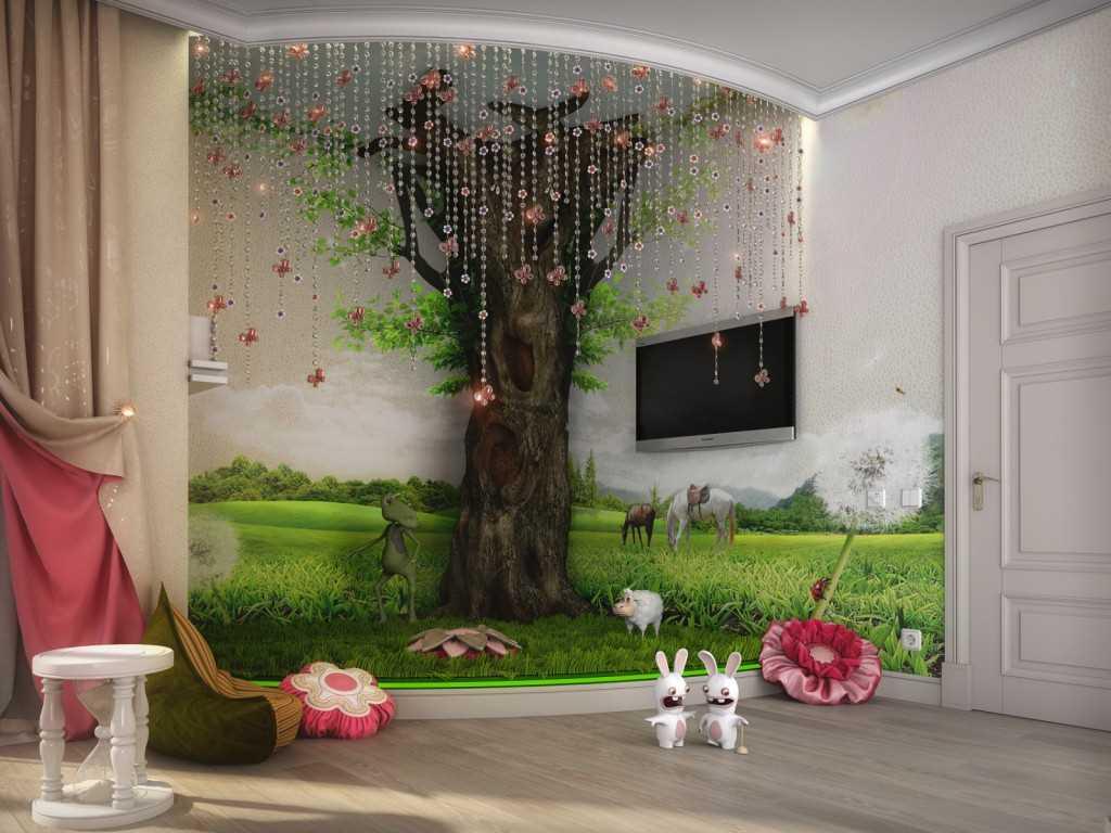 Разнообразный декор стен в детской комнате