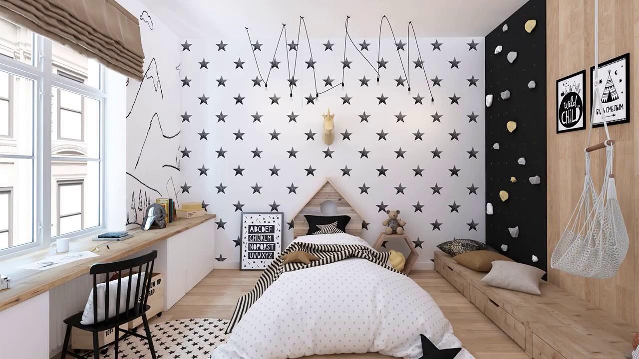 Дизайн детской в скандинавском стиле чёрно белом цвете