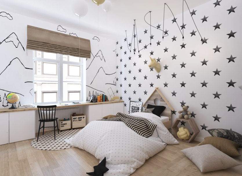 домик в изголовье кровати в детской в скандинавском стиле