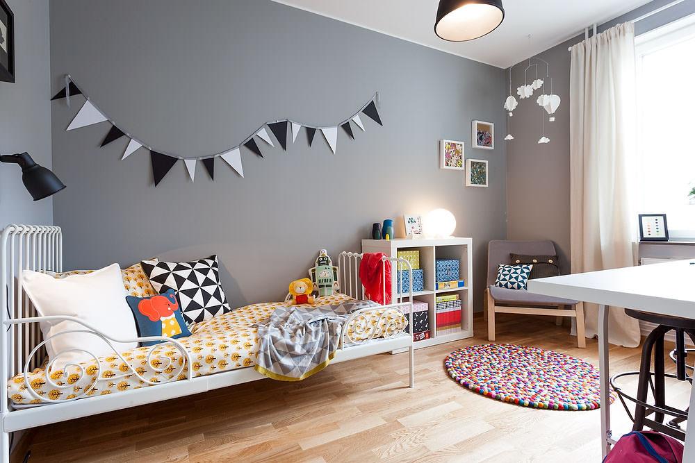 Дизайн детской в скандинавском стиле в сером цвете