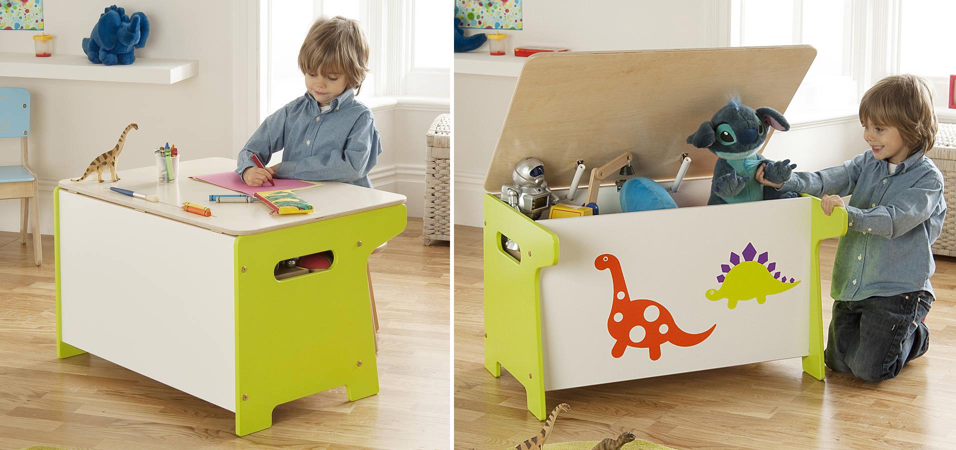Детские стол и стул с потайными местами для хранения игрушек