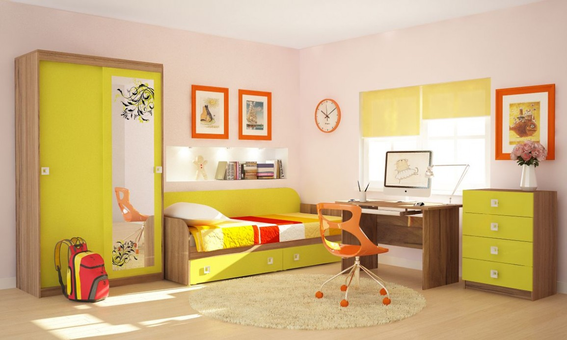 мебель в желтом цвете в детской