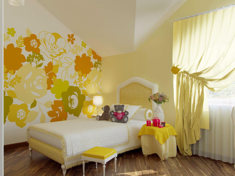 Детская комната оранжево-желтая