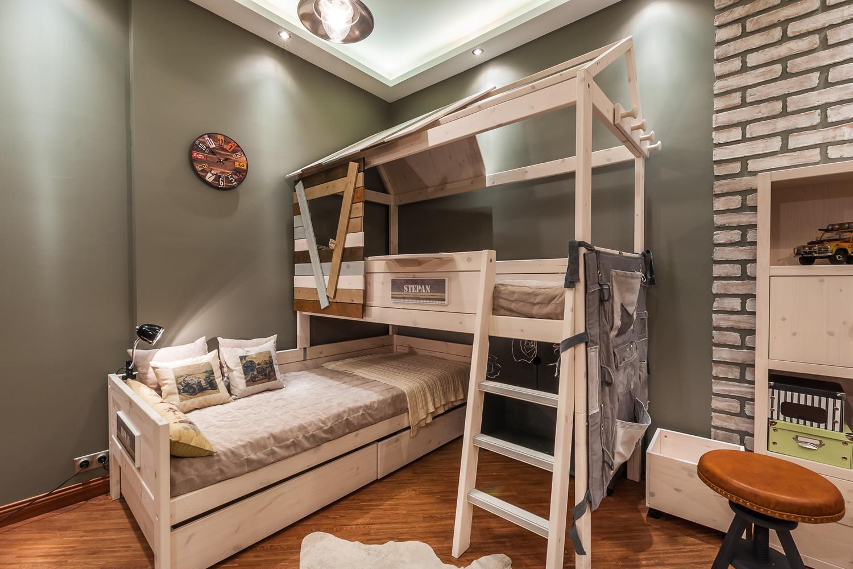 детская в стиле лофт с двухъярусной кроватью