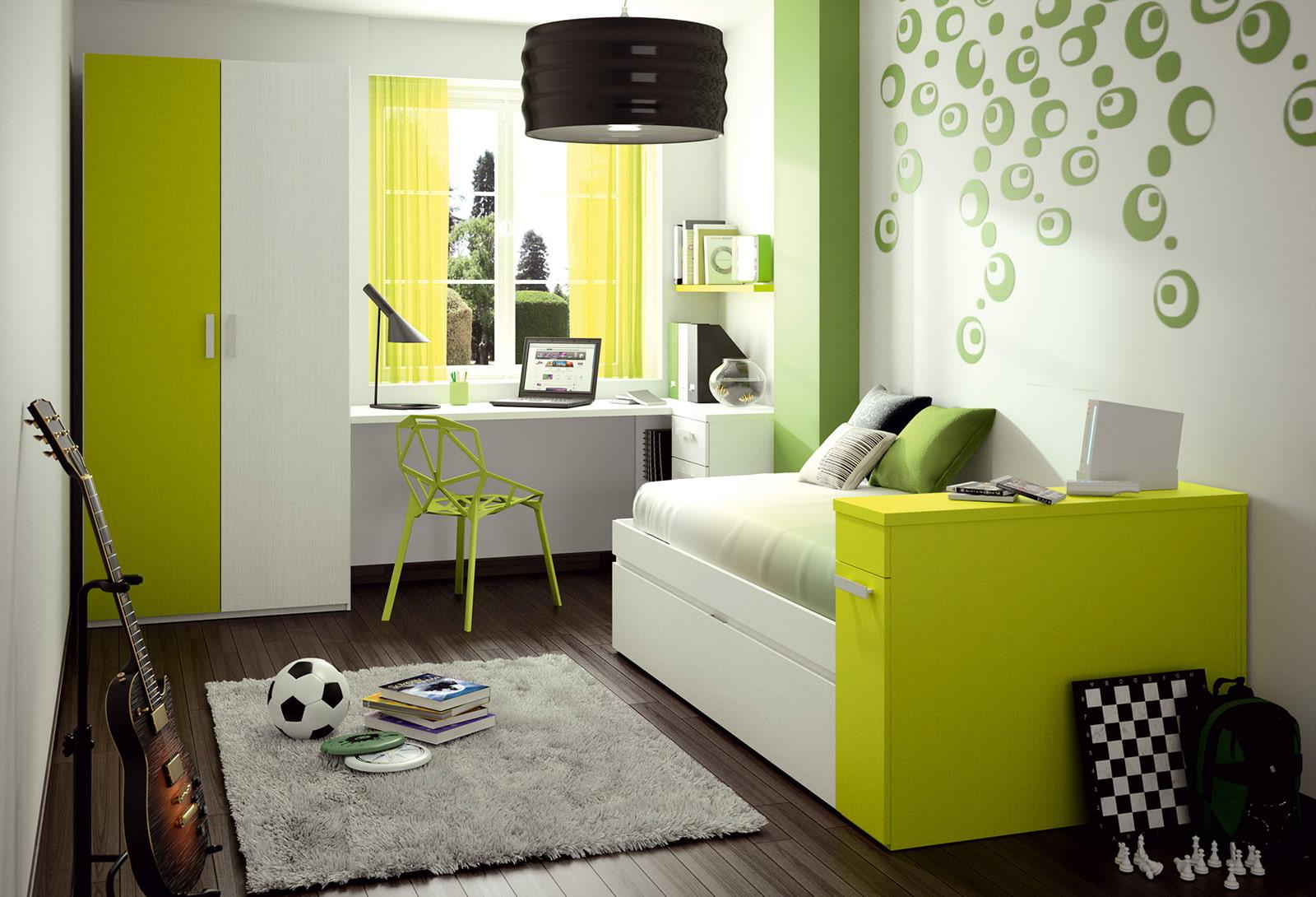 комната для мальчика в зелёном цвете