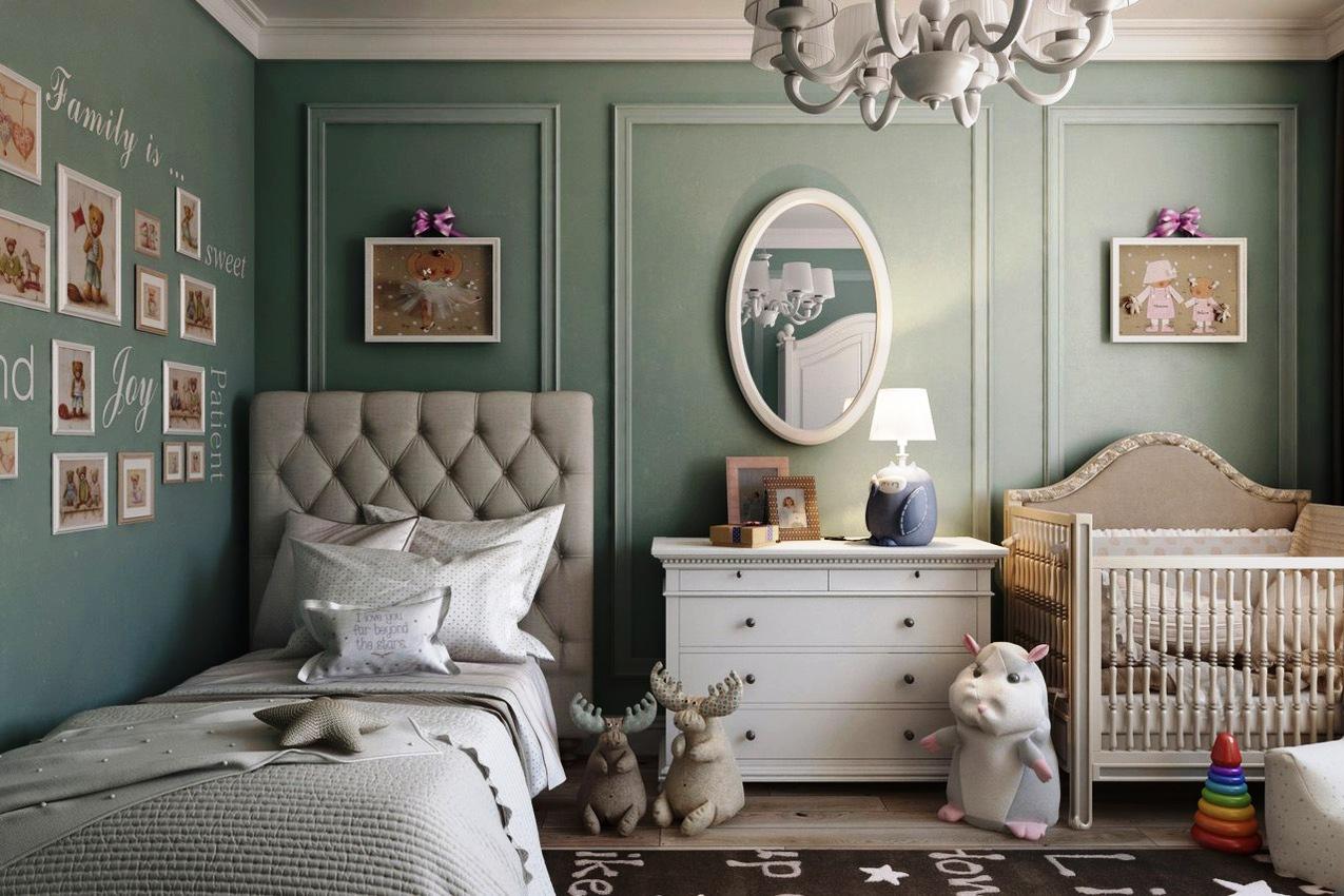 Серо-зеленая детская комната