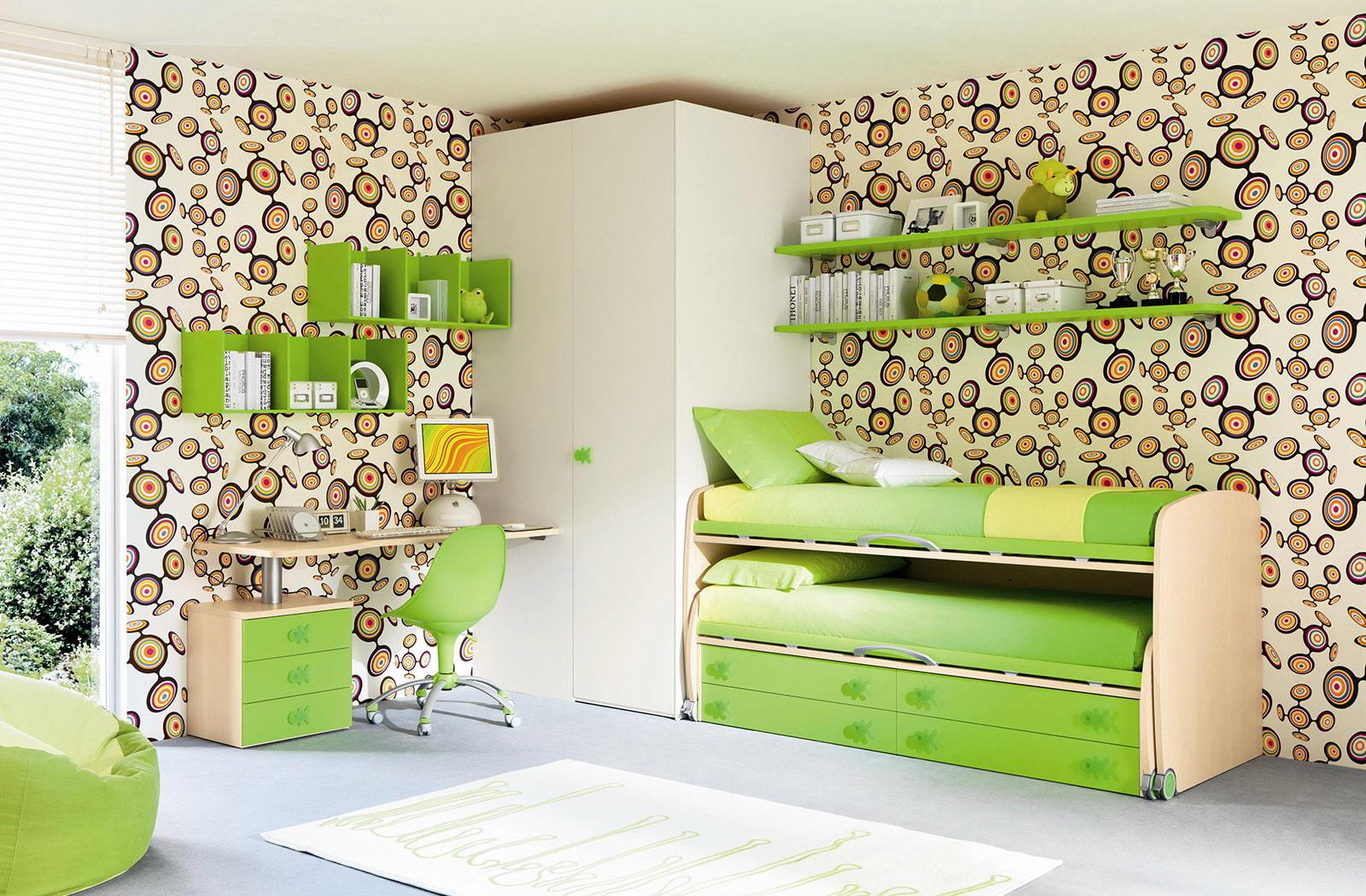 оформление стен в детской в зелёном цвете