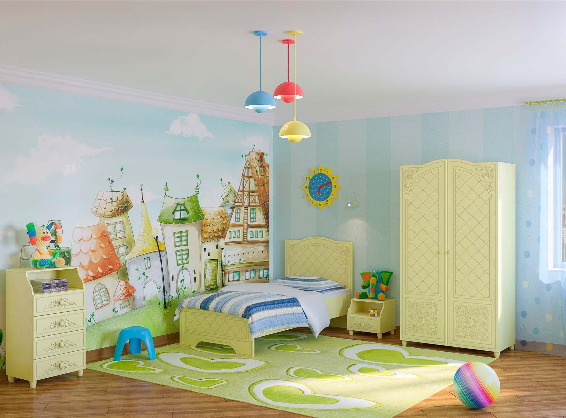 Зелено-голубая детская комната