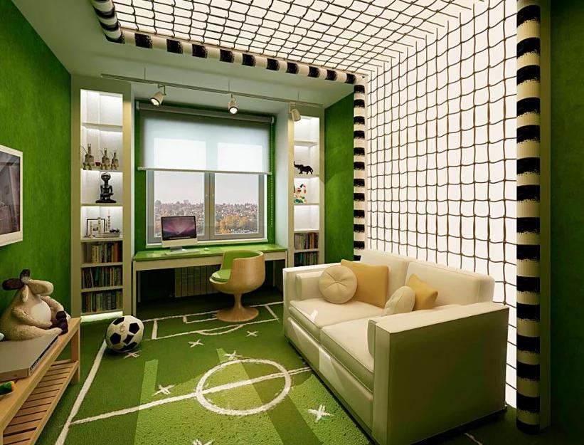 зелёная комната для мальчика - футбольное поле