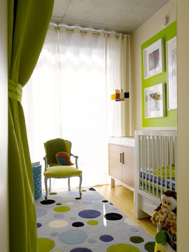 мебель в зелёном цвете в детской