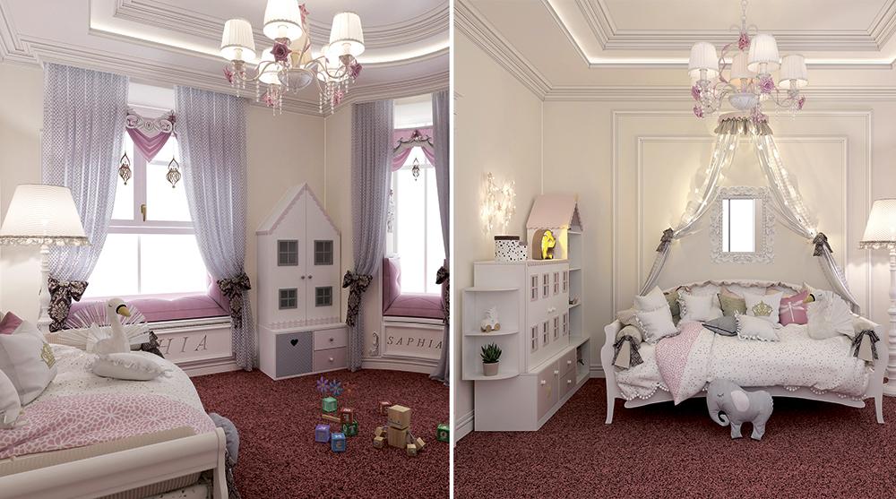 Классический декор в детской комнате