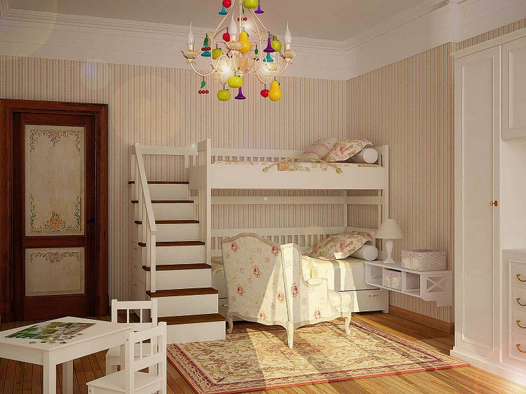 двухярусная детская кровать в классическом стиле