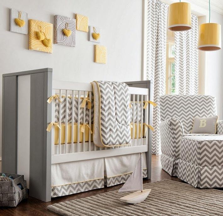 Желто-серое сочетание в декоре детской