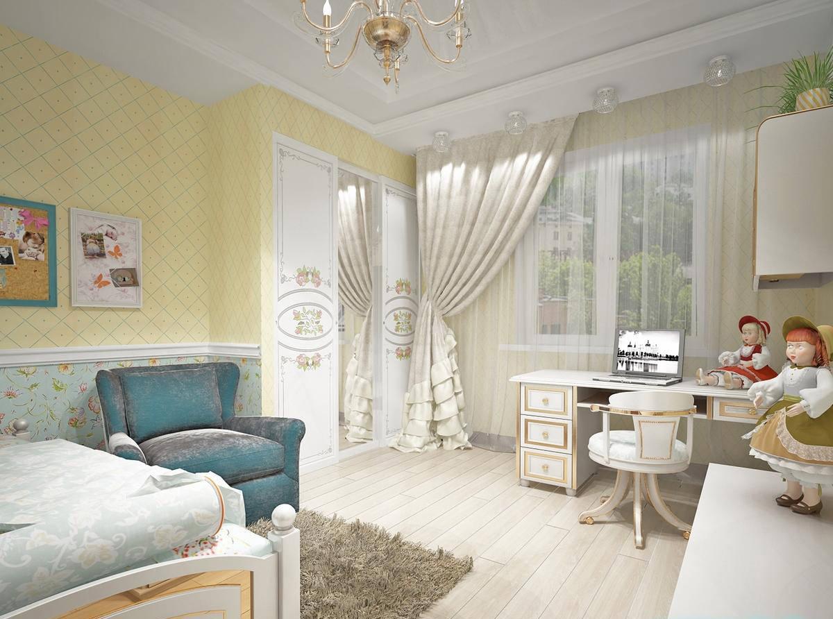 Светлая мебель для комнаты девочки