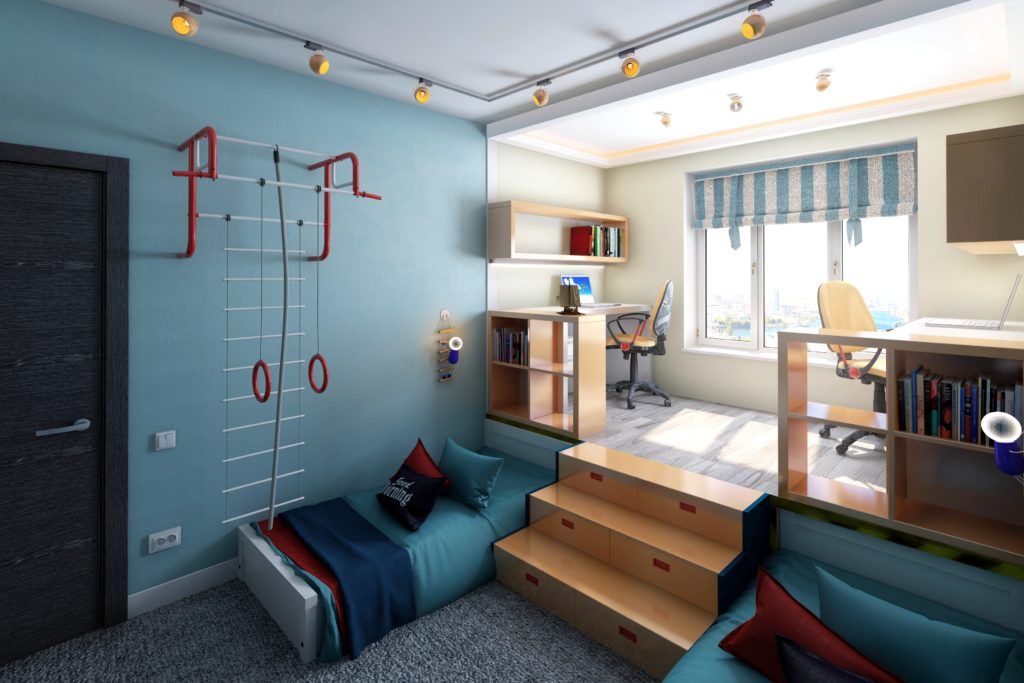 расстановка мебели в детской для двоих